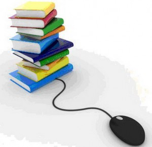 an image of a pile of books with a computer mouse attached to them
