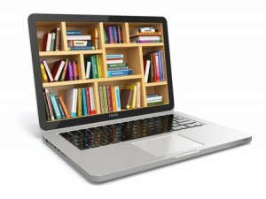 an image of a laptop with a picture of a full bookshelf on its screen