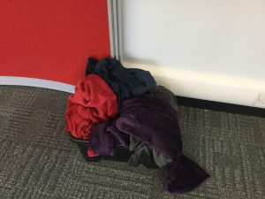 an image of a pile of blankets in a box