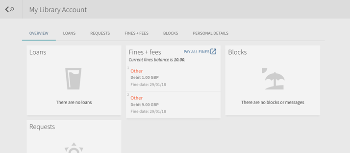 an image of what a logged in user would see on iDiscover, including a tab called 'fines and fees' with the link to pay library fines online