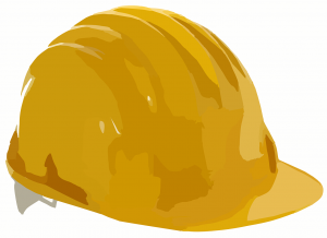 a yellow hard hat of the type worn on construction sites