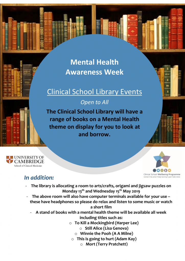 a poster advertising the Medical Library's events during Mental Health Awareness Week (13th-17th May). Details of events are in the main body of this news post